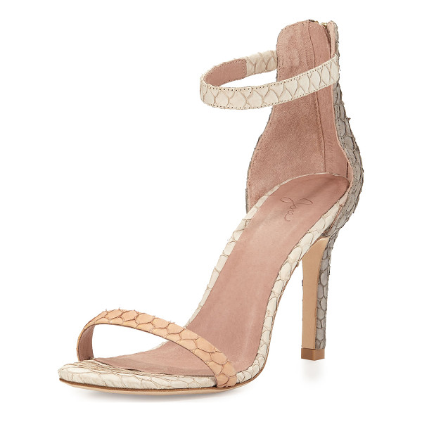 "JOIE Abbott Fish-Skin Sandal - Joie sandal with fish skin upper. 3.8"" covered heel. Thin..."