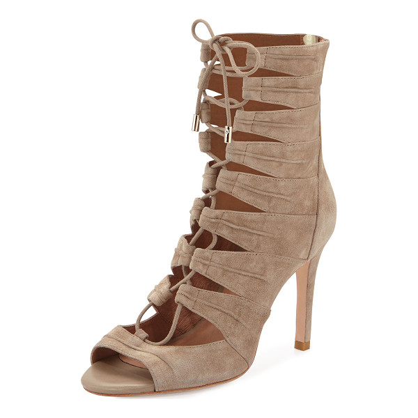 """JOIE Anja lace-up cage bootie - Joie suede cage bootie. 3. 8"""" covered heel; 6"""" boot height...."""