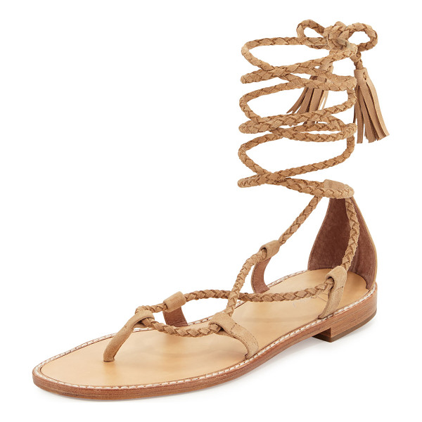 """JOIE Bailee Lace-Up Flat Gladiator Sandal - Joie braided suede gladiator sandal. 0.5"""" stacked heel...."""