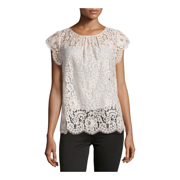 """JOIE Channelle Bow-Back Lace Top - Joie """"Channelle"""" top in lace with scalloped eyelash-lace..."""