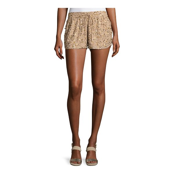 """JOIE Joselle Sequin Drawstring Shorts - Joie """"Joselle"""" shorts with allover sequin detail. Self-tie..."""