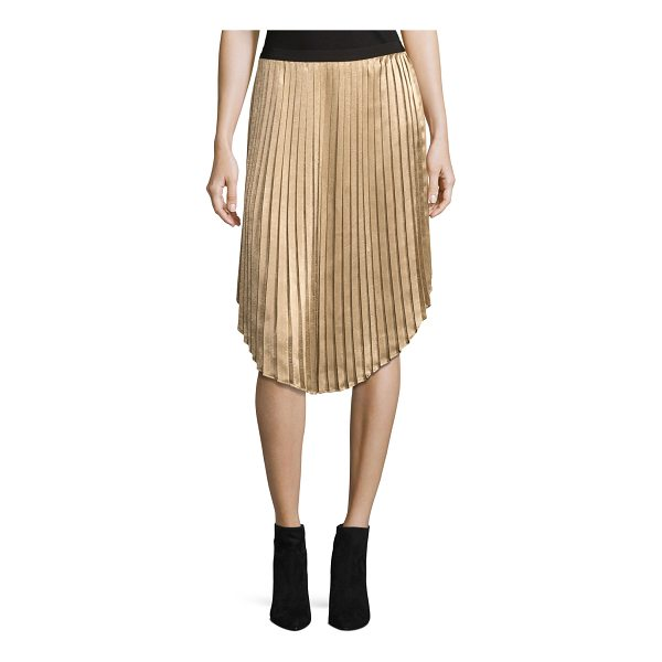 "JOIE Kambree Pleated Midi Skirt - Joie ""Kambree"" midi skirt in pleated metallic. Ribbed..."
