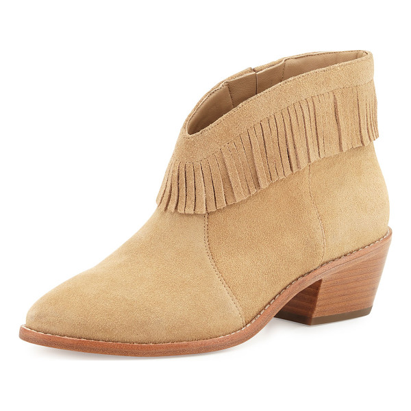 "JOIE Makena Suede Fringe Bootie - Joie calf suede bootie with fringe trim. 2"" stacked chunky..."