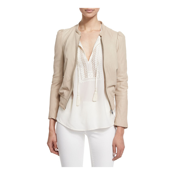 """JOIE Oshie Soft Leather Cropped Jacket - Joie """"Oshie"""" soft lamb leather jacket with oblique insets..."""