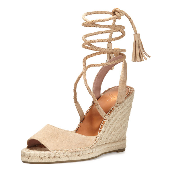 JOIE Phyllis Suede Lace-Up Wedge Espadrille Sandal - Joie suede espadrille sandal, featuring braiding and...