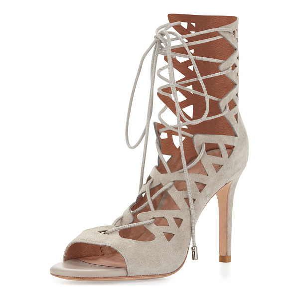 """JOIE Quinn suede lace-up sandal - Joie caged sandal in suede. 3. 8"""" covered heel. Open toe...."""