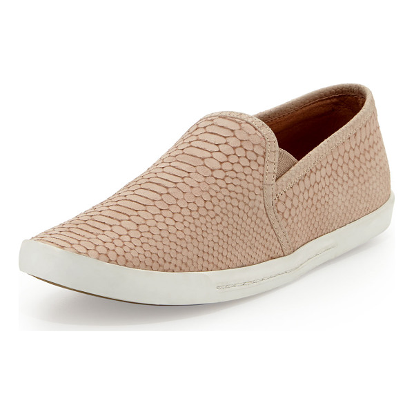 JOIE Kidmore Snake-Print Slip-On - Joie snake-print suede skate shoe. Gored stretch insets at...