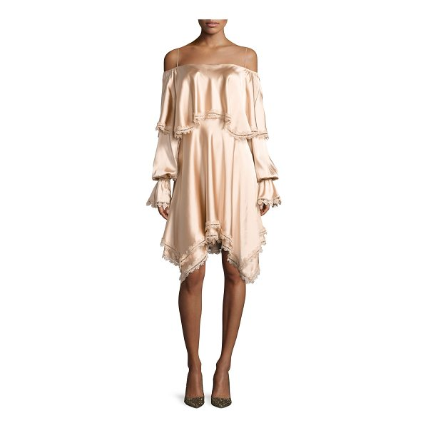 JONATHAN SIMKHAI Off-the-Shoulder Long-Sleeve Fluid Sateen Short Dress - Jonathan Simkhai dress in fluid stretch sateen with lace...
