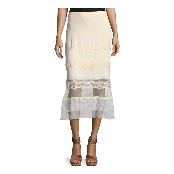 JONATHAN SIMKHAI Threaded Tulle Lace Ruffle Midi Skirt - Jonathan Simkhai godet skirt in threaded tulle lace. Sits...
