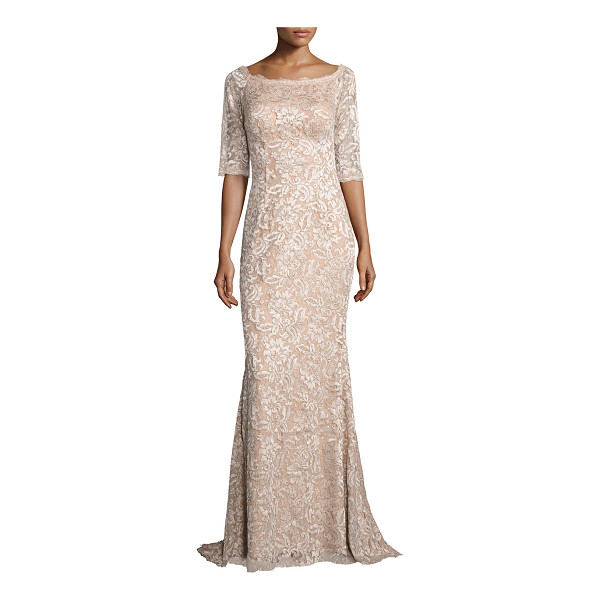 JOVANI 3/4-Sleeve Floral Lace Mermaid Gown - Jovani gown in embroidered floral lace. Round scalloped...