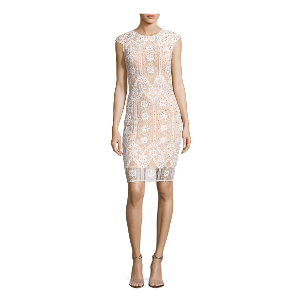 JOVANI Cap-Sleeve Sequined Lace Cocktail Dress - Jovani cocktail dress in floral lace with sequin...