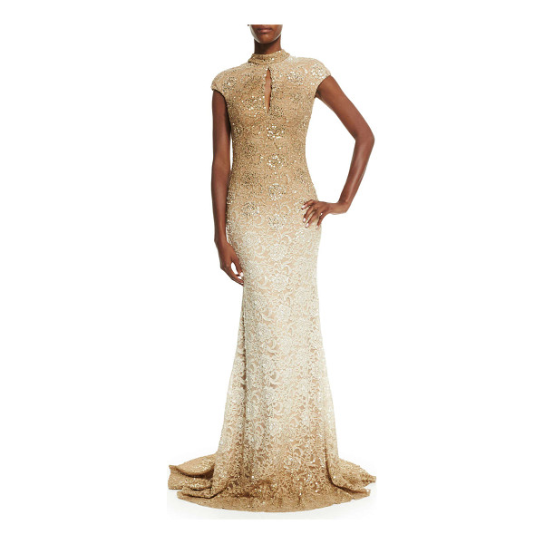 """JOVANI Cap-sleeve sequined lace gown - Jovani sequined ombre lace gown. Approx. measurements: 65""""L..."""