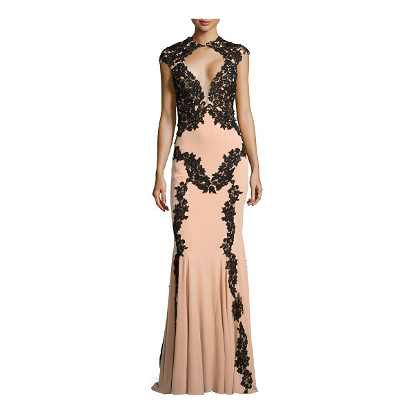 JOVANI Illusion-bust lace-trim gown -  Jovani evening gown in nude with black lace Approx....