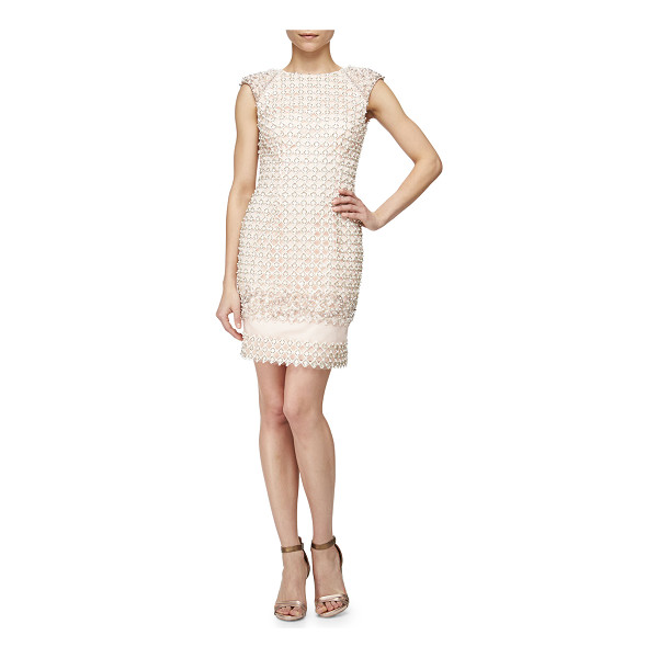 JOVANI Lattice Beaded Cocktail Dress - Jovani cocktail dress with elaborate lattice embroidery and...