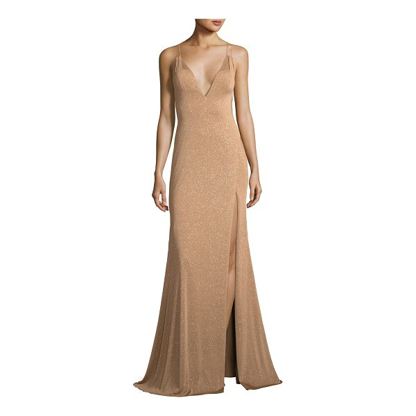 JOVANI Metallic V-Neck Strappy Gown - EXCLUSIVELY AT NEIMAN MARCUS Jovani metallic evening gown....
