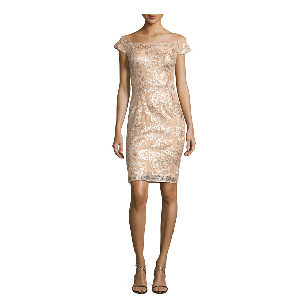 JOVANI Off-the-Shoulder Embellished Lace Cocktail Dress - Jovani mini cocktail dress in embellished lace....