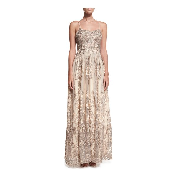 JOVANI Sleeveless Embroidered Beaded Lace Gown - Jovani evening gown with embroidery and beaded...