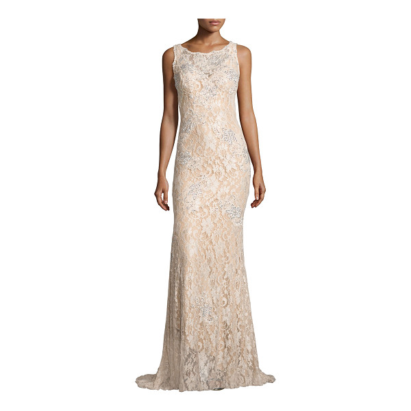 JOVANI Sleeveless lace mermaid gown - Jovani evening gown in beaded floral lace. Boat neckline;...