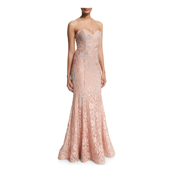 JOVANI Strapless lace mermaid gown - Jovani lace evening gown with crystal adornments; includes...