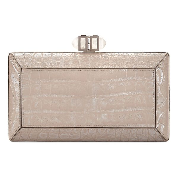 JUDITH LEIBER COUTURE Coffered Crocodile Minaudiere - Judith Leiber Couture coffered box clutch bag, wrapped in...