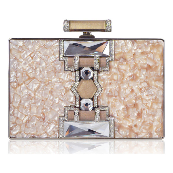 JUDITH LEIBER COUTURE Jazz Age Ridged Rectangle Marble Resin Clutch Bag - Judith Leiber Couture rectangular clutch bag in marbled