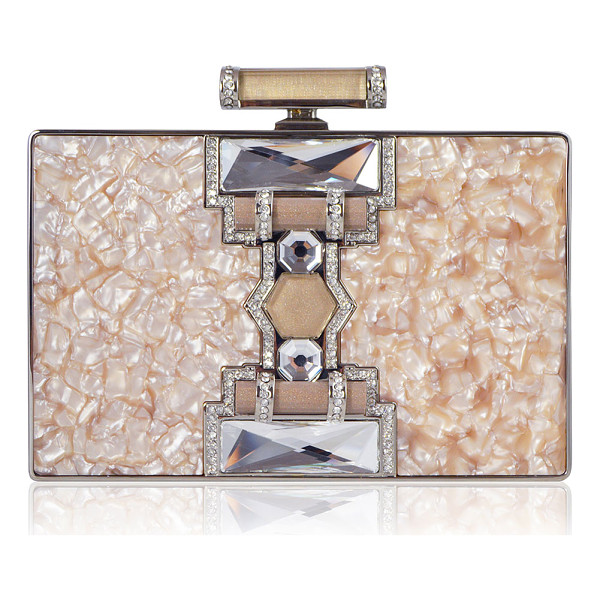JUDITH LEIBER COUTURE Jazz Age Ridged Rectangle Marble Resin Clutch Bag - Judith Leiber Couture rectangular clutch bag in marbled...