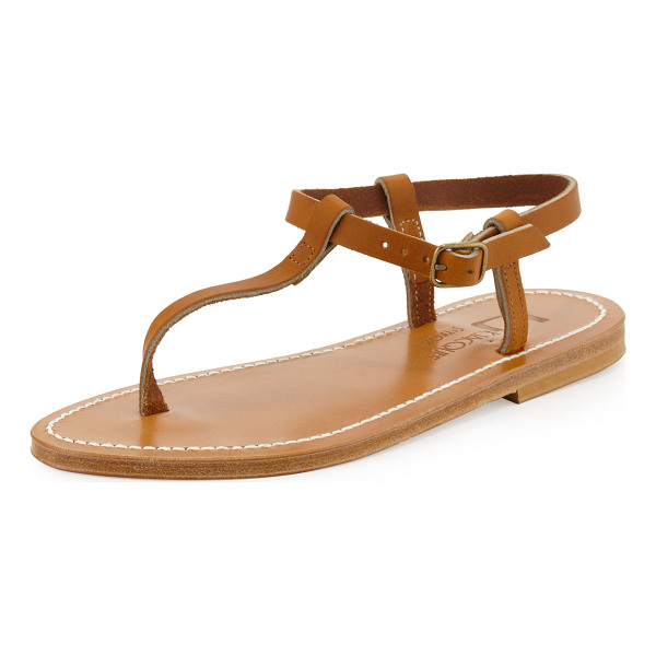 K. JACQUES Petrone leather thong sandal -  Leather thong sandal. Adjustable buckled ankle strap....