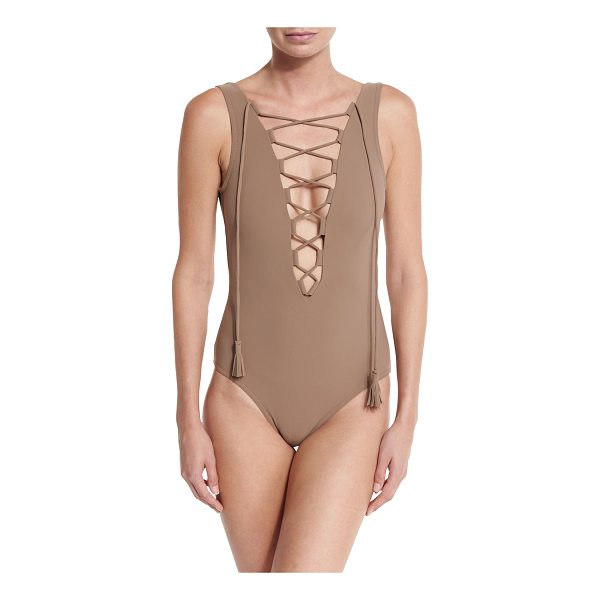 "KARLA COLLETTO Entwined Plunge Lace-Up One-Piece Swimsuit - Karla Colletto ""Entwined"" one-piece swimsuit in solid..."