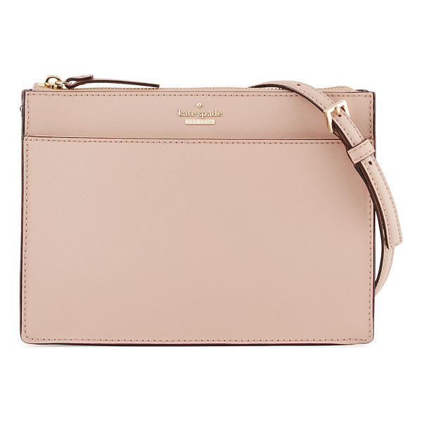 KATE SPADE NEW YORK cameron street clarise leather clutch bag - kate spade new york crosshatched leather clutch bag. Golden...