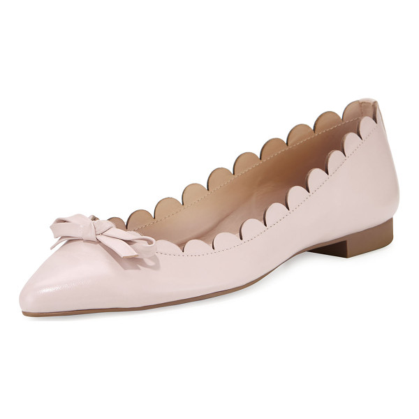 "KATE SPADE NEW YORK eleni flex scalloped ballerina flat - kate spade new york napa leather ballerina flat. 0.4"" flat..."