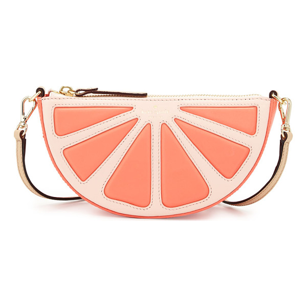 KATE SPADE NEW YORK Grapefruit leather crossbody bag - kate spade new york leather crossbody with half-grapefruit...
