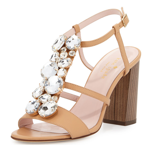 "KATE SPADE NEW YORK isabell jeweled 90mm sandal - kate spade new york calf leather sandal. 3.5"" wooden block..."