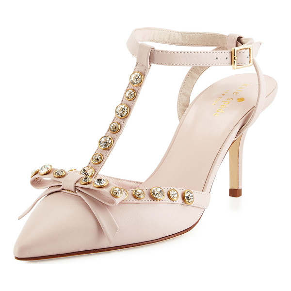 KATE SPADE NEW YORK julianna t-strap bow pump - kate spade new york leather pump with crystal trim. 2.8""