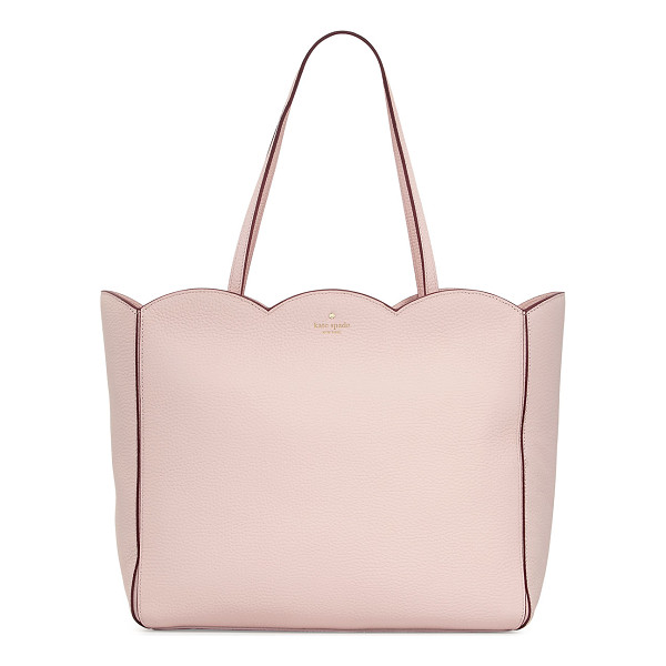 KATE SPADE NEW YORK leewood place rainn scalloped tote bag - kate spade new york pebbled leather tote bag with scalloped...