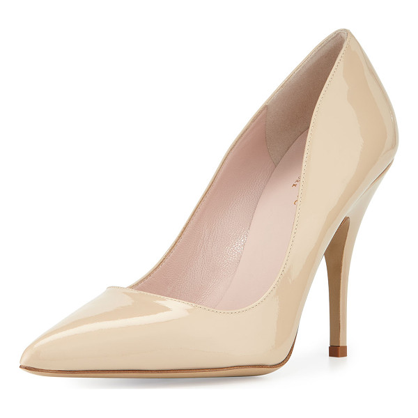 "KATE SPADE NEW YORK licorice patent leather point-toe pump - kate spade new york pump in patent leather. 4"" covered"