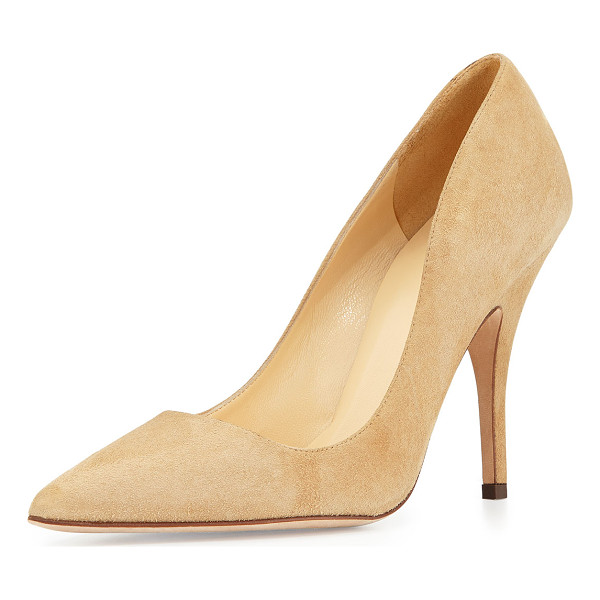 "KATE SPADE NEW YORK licorice suede point-toe pump - kate spade new york ""licorice"" suede pump. 4"" covered heel...."