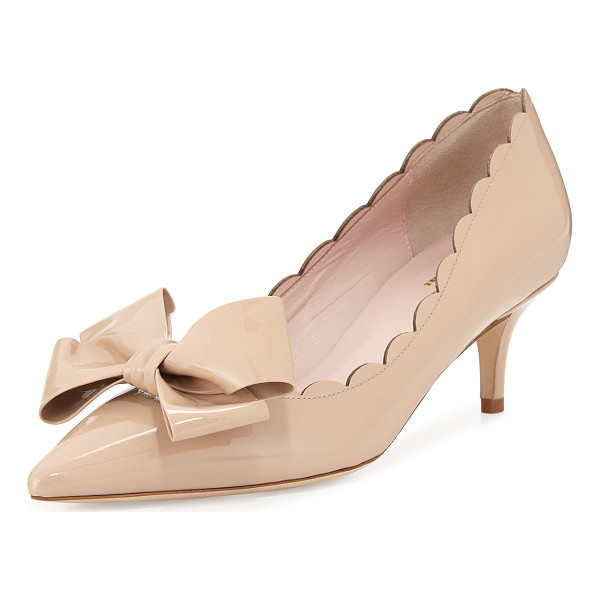 KATE SPADE NEW YORK maxine patent scalloped bow pump - kate spade new york classic patent leather pump. 2.3""