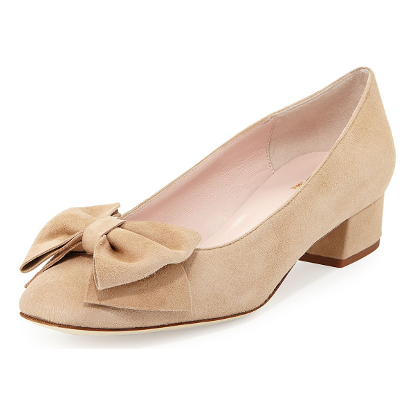 """KATE SPADE NEW YORK molly suede low-heel bow pump - kate spade new york suede pump. 1.3"""" covered block heel...."""