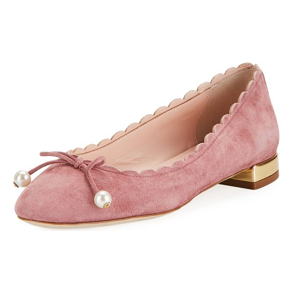 """KATE SPADE NEW YORK murray scalloped pearly-bow flat - kate spade new york suede ballerina flat. 0.5"""" flat heel...."""
