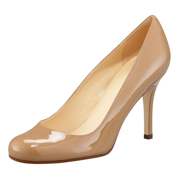 """KATE SPADE NEW YORK karolina patent pump - High-gloss patent leather forms round-toe silhouette. 3.5""""..."""
