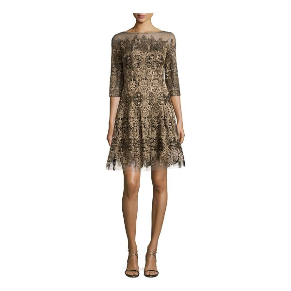 KAY UNGER 3/4-Sleeve Embroidered Fit-and-Flare Dress - Kay Unger New York mesh dress with embroidered detailing....