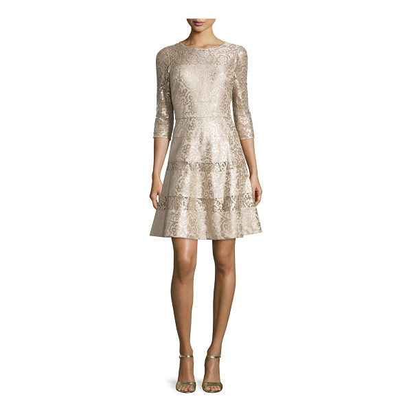 KAY UNGER 3/4-Sleeve Lace Fit & Flare Dress - Kay Unger New York metallic lace dress with semisheer...