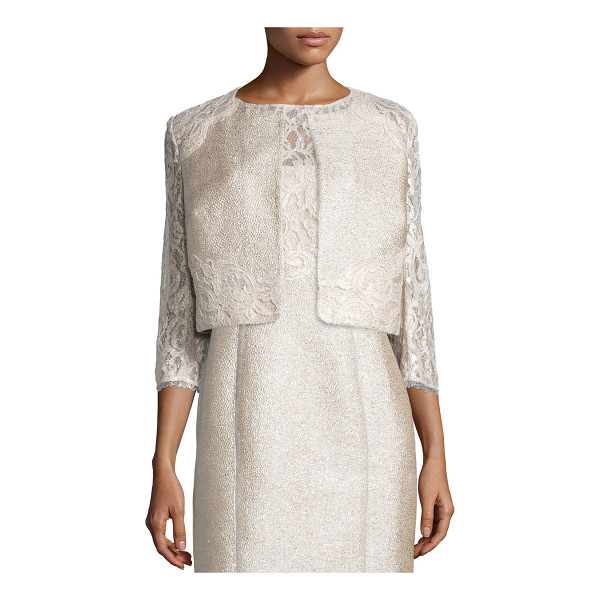 KAY UNGER 3/4-Sleeve Lace Tweed Cropped Jacket - Kay Unger New York shimmery tweed jacket with foiled lace...
