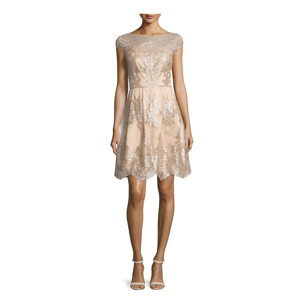 KAY UNGER Cap-Sleeve Metallic Lace Fit-and-Flare Dress - Kay Unger New York dress with metallic lace trim. Approx....