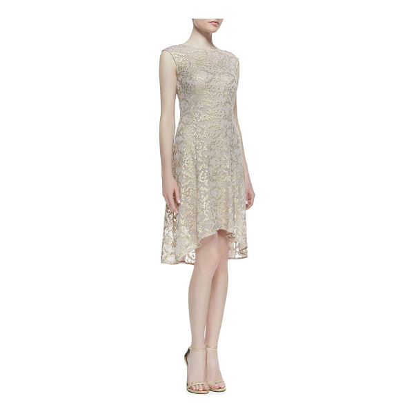 KAY UNGER Cap-sleeve metallic lace high-low cocktail dress - Metallic lace cocktail dress by Kay Unger New York. Approx....