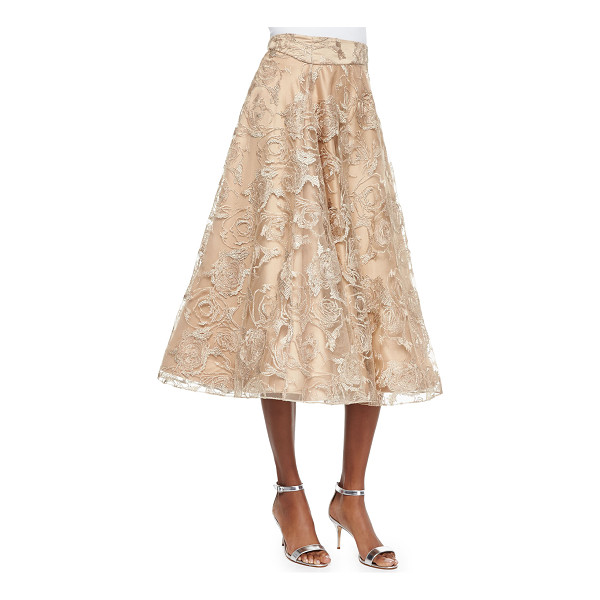 KAY UNGER Lace tea-length ball skirt - Kay Unger New York lace ball skirt with tonal underlay....
