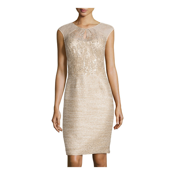 KAY UNGER Sequined tweed cocktail dress - Kay Unger New York tweed cocktail dress with sheer lace...
