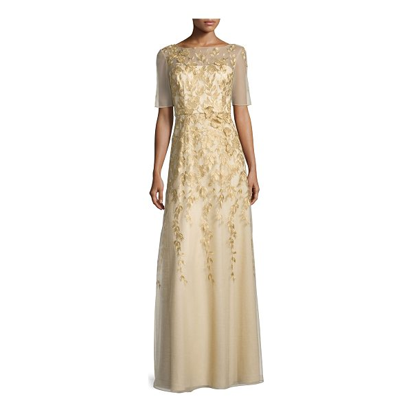 KAY UNGER Short-Sleeve Floral-Embroidered Chiffon Gown - Kay Unger New York chiffon gown with floral embroidery and...