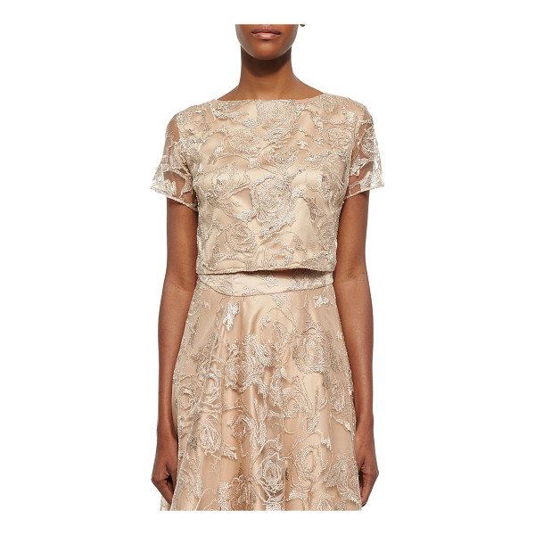 KAY UNGER Short-Sleeve Lace Cropped Top - Kay Unger New York lace top with tonal underlay. Approx....