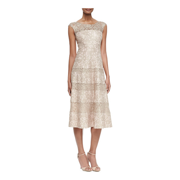 KAY UNGER Sleeveless lace tea-length cocktail dress - - Cocktail dress by Kay Unger New York overlaid in lace....